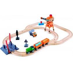 Hape Crossing & Crance Set (E3732A) - Σιδηρόδρομος με Γερανό Φορτοεκφόρτωσης - 34Τεμ.