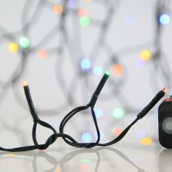 180 Λαμπάκια LED Πολύχρωμα 3mm με Προγράμματα, Σειρά, Πράσινο Καλώδιο Ρεύματος 9m Eurolamp