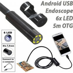USB Android Ενδοσκοπική Αδιάβροχη Κάμερα Μικροσκόπιο 6x LED για Κινητά Τηλέφωνα OTG 5m - AN98B