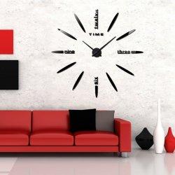 Μεγάλο Ρολόι Τοίχου 3D Stickers Mirror FAS1 DIY Μαύρο (Ακρυλικό) 120εκ.