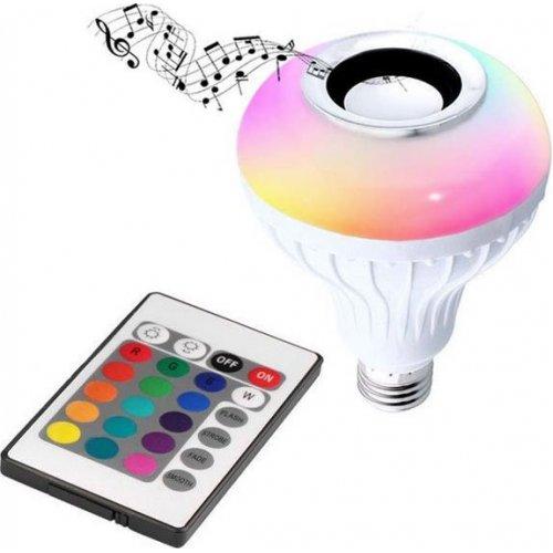 E27 7W RGB Dimmable Ηχείο Τηλεχειριστήριο Smart